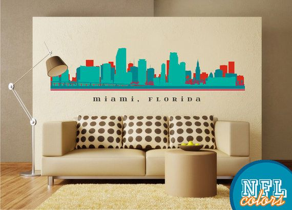 Miami florida skyline wall decal art vinyl removable vinyl sticker living room office decor city