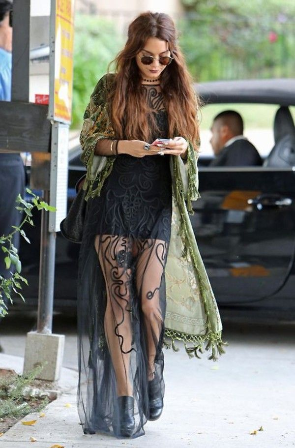 Dress: vanessa hudgens maxi hippie jacket jewels blouse sunglasses green goth glasses lace gorgeous