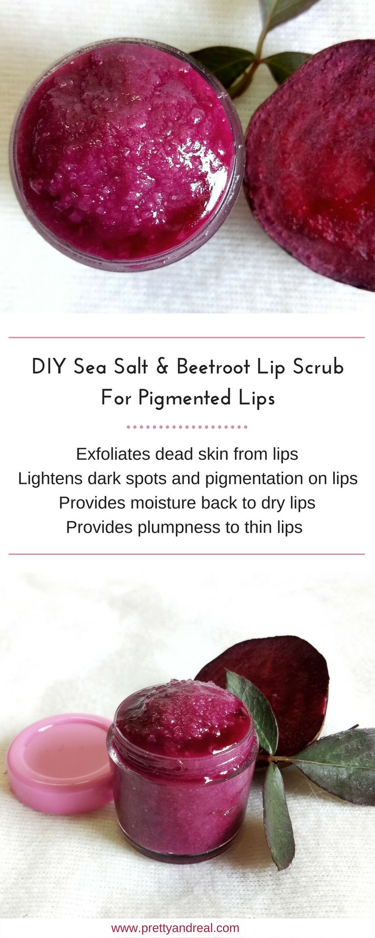 Pigmentation is a common skin condition that causes dark patches or spots on skin and lips. Use this DIY Beetroot & Sea Salt Scrub for Pigmented Lips! #lips #lipscrub #scrubs #diy #beauty #beautyblogger