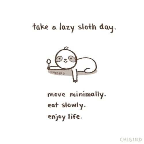 Caution: Lazy sloth days may not be for everyone. Like if all... (chibird)