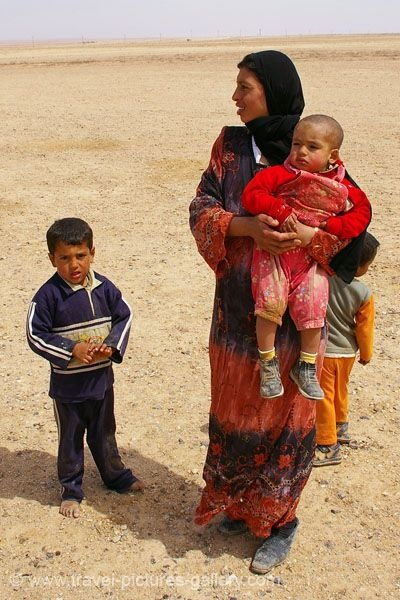 Bedouin family in Syria.  Today there are over a million Bedouin living in Syria, making a living herding sheep and goats. The largest Bedouin clan in Syria is called Ruwallah.