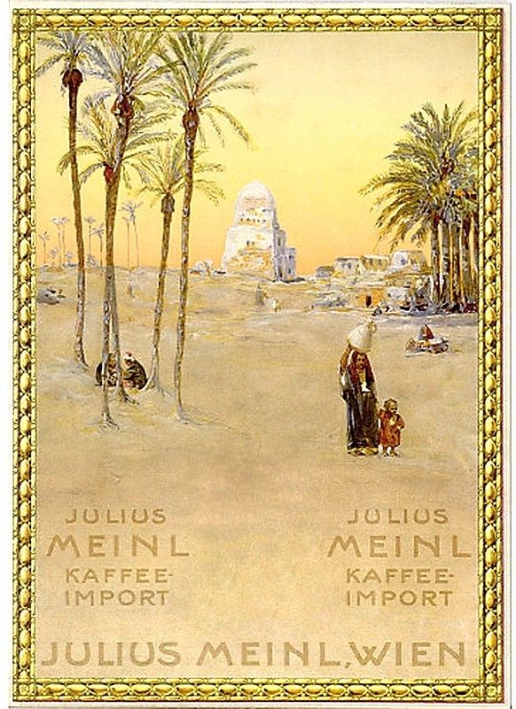JULIUS MEINL / KAFFEE - IMPORT. Group of 4 window cards. Circa 1900. Sizes vary, generally 12 1/2x9 inches, 31 3/4x23 cm.