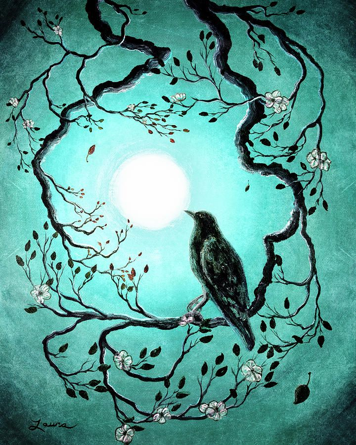 Crow Painting - Raven In Teal by Laura Iverson
