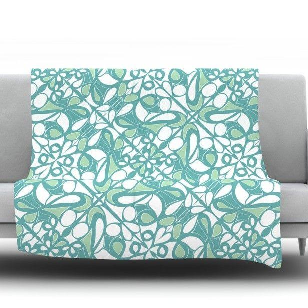 Swirling Tiles Teal Throw Blanket