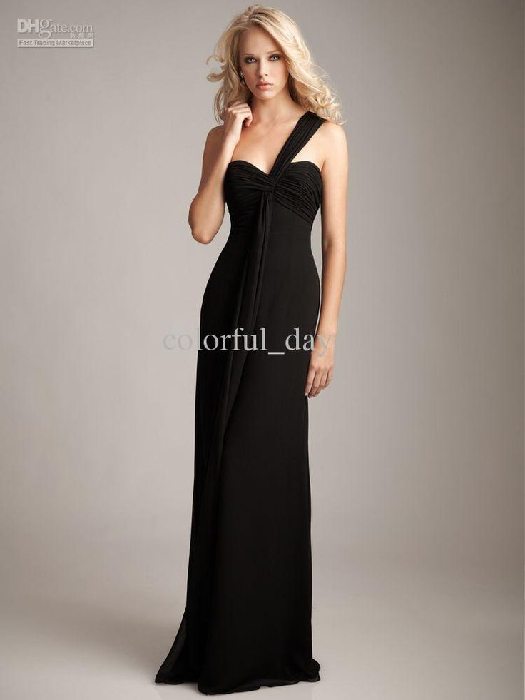 Wholesale No Risk Shopping One Shoulder Pleat Chiffon Sheath Floor Length Party Bridesmadis Dresses Gowns b10, Free shipping, $56.0-64.96/Piece | DHgate