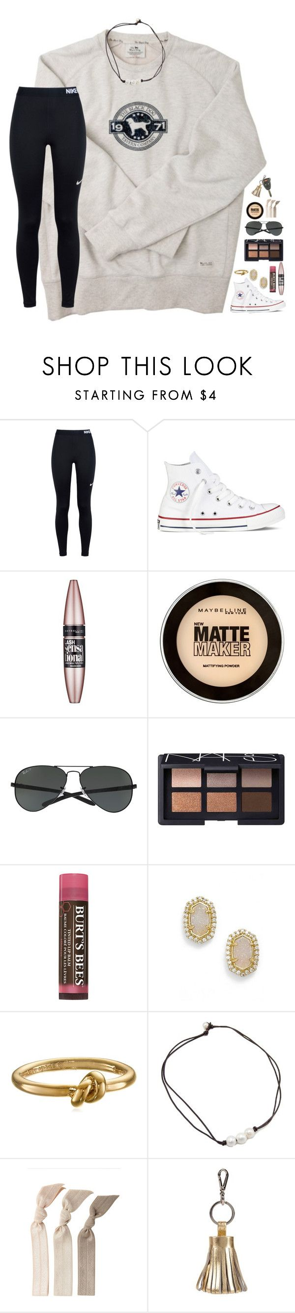 """having problems//rtd"" by lindsaygreys ❤ liked on Polyvore featuring NIKE, Converse, Maybelline, Ray-Ban, NARS Cosmetics, Burt's Bees, Kendra Scott, Kate Spade, Emi-Jay and ILI"