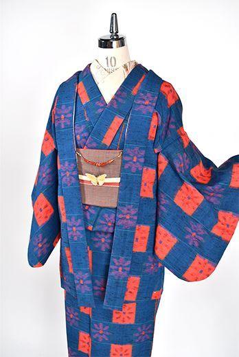 アッシュブルーとソレイユオレンジの花市松モダンなウールアンサンブル - アンティーク着物・リサイクル着物のオンラインショップ 姉妹屋