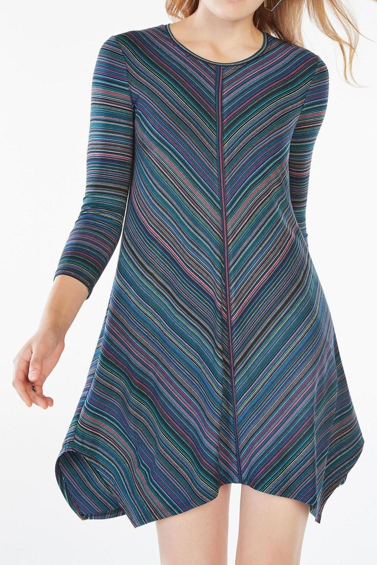 An asymmetrical cut and retro stripes lend this jersey dress an instant style update. Lightweight, stretchy and easy on the body, it's effortless to dress up for work, or make casual with flats for the weekend.   Striped Jersey Dress by BCBG Max Azria. Clothing - Dresses Georgia