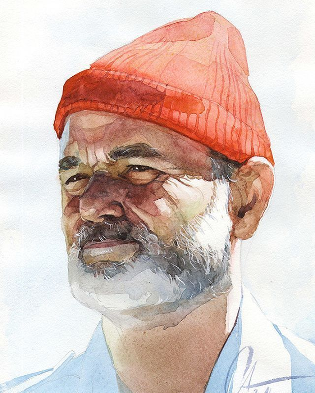 #Zissou from #WesAnderson movie #thelifeAquaticwithSteveZissou stariing #BillMurray . #watercolor #portrait #Stevezissou #art #painting #dzivnel #aquarela #aquarelle #акварель #живопись #face #sydney #портрет # #face #process #портрет #illustration #man