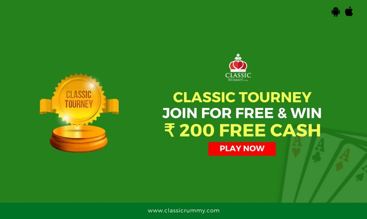 Play classic tourney at Classic Rummy & win Rs.200 free cash.  #rummy #online #free #card #games