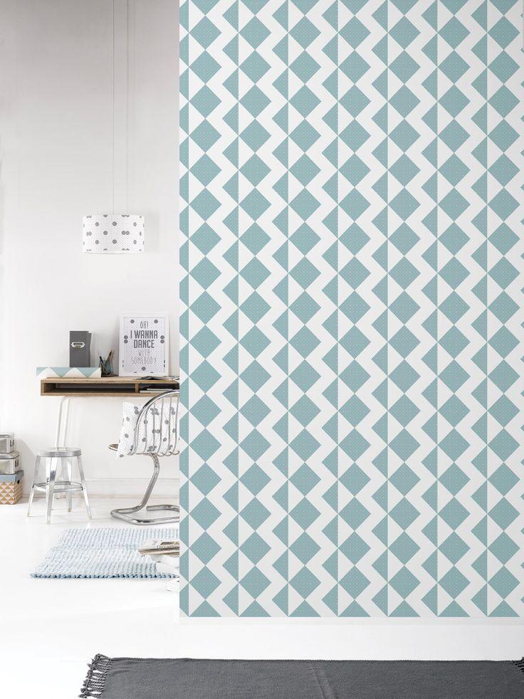 Behang Zigzag Softblue - Behangpapier - Muur