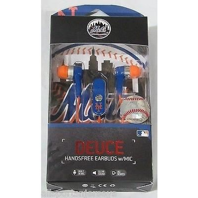 MLB New York Mets Team Logo Earphones With Microphone by Mizco