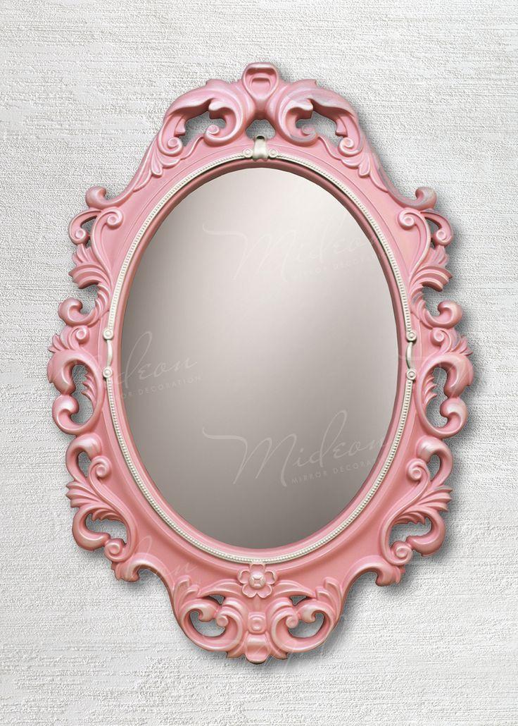 Овальное зеркало «Винтажное» в раме Розовый Перламутр Серебро