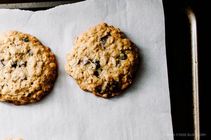 blueberry, coconut, dark chocolate oat cookies