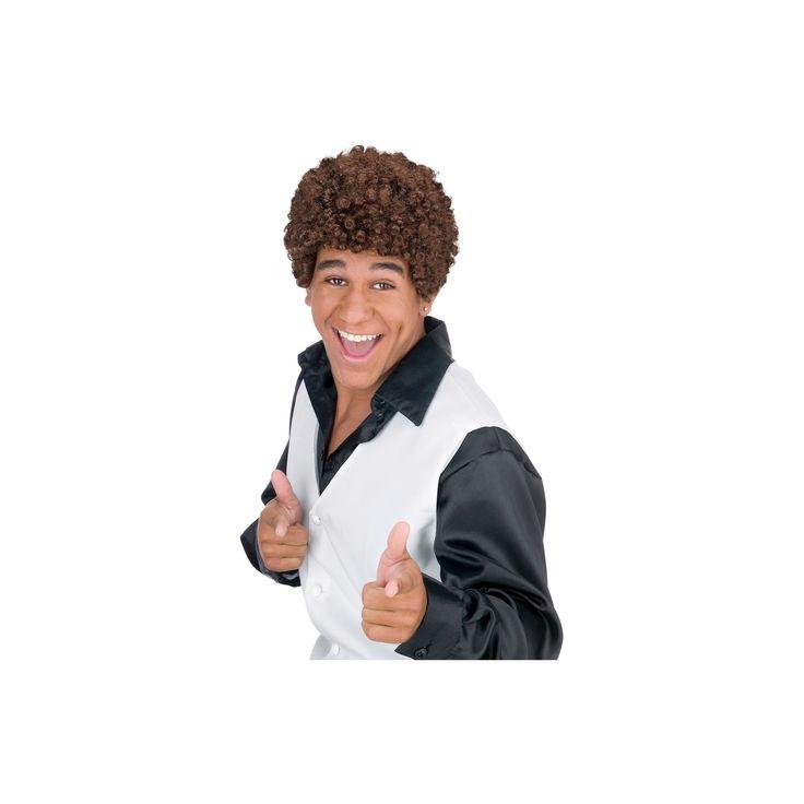 Halloween Jheri Curl Costume Wig Dark Brown, Adult Unisex