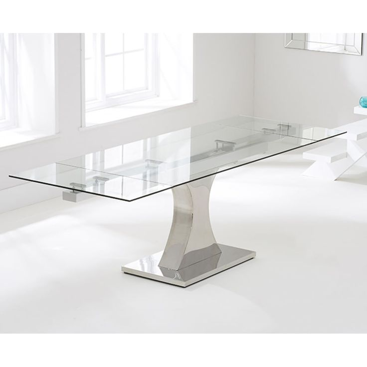 Mark Harris Amber Clear Extending Glass Table Create A Centre Piece Attraction In Your Dining