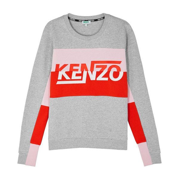 KENZO Colour-block Logo Cotton Sweatshirt (¥30,855) ❤ liked on Polyvore  featuring