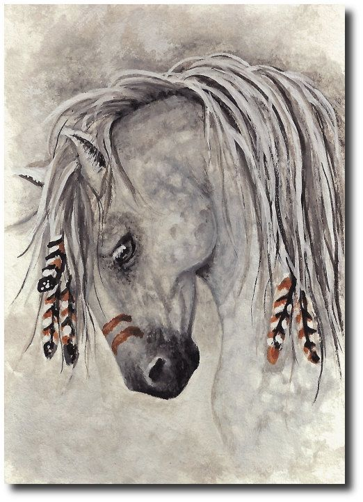 Native American Horse Drawing Mustang western native war