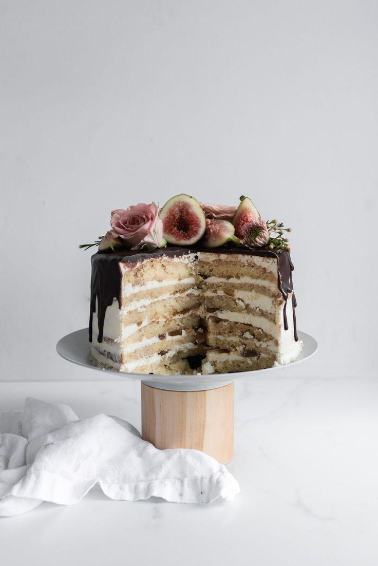 Fig and Almond Layer Cake -- Jocunde Sponge layered with Amaretto Syrup, Orange Blossom Ricotta Swiss Meringue Buttercream, and Dark Chocolate Ganache
