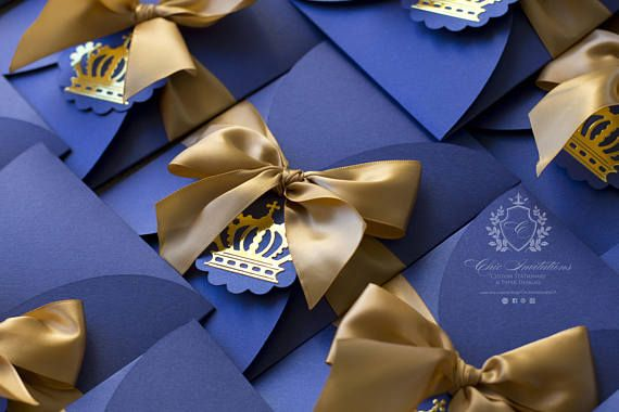 Christening Invitation, Baptism Invitation, Baby Shower Invitation, Blue and gold Invitation, prince Invitation, Crown gold, blue
