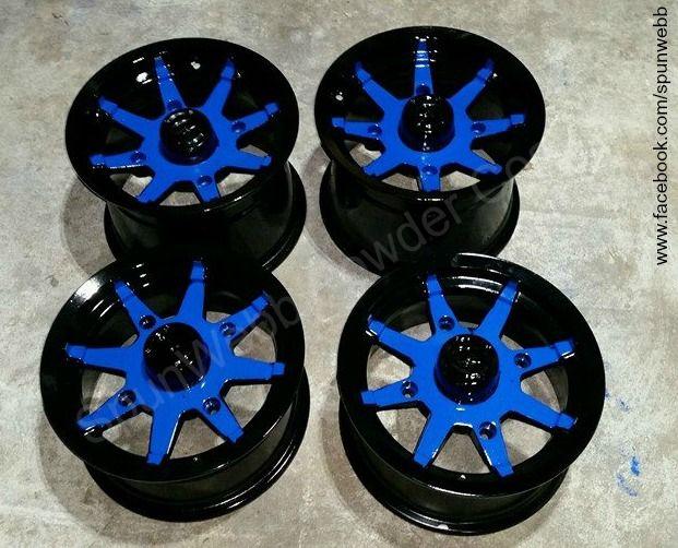 Thank you SpunWebb Powder Coating for sharing finished Blue Streak PESBL-400-G9 Powder Coating. Those Wheels Looks Great! Black and Blue Powder Coating http://www.mitpowdercoatings.com/blue-streak/