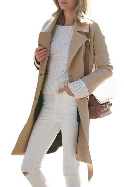 Lapel Single-Breasted Wool Coat