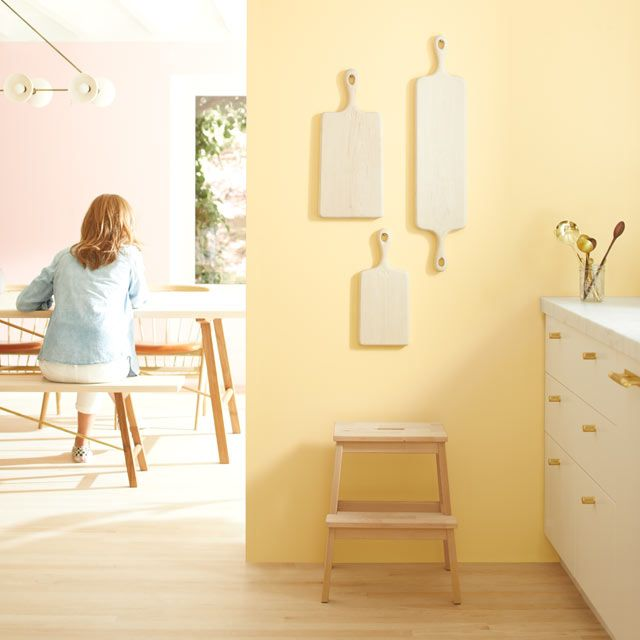 Color Trends Color Of The Year 2020 First Light 2102 70 Benjamin Moore Yellow Painted Walls Yellow Bedroom Walls Bedroom Wall Colors