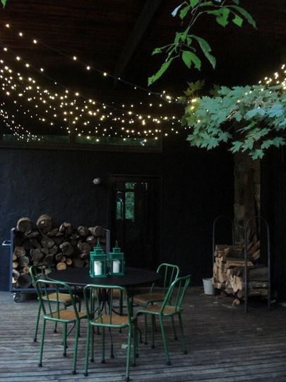 outdoor porch lighting: Hanging Lights, Twinkle Lights, Fairies Lights, String Lights, Patio, Outdoor Parties, Green Chairs, Outdoor Spaces, Outdoor Lights