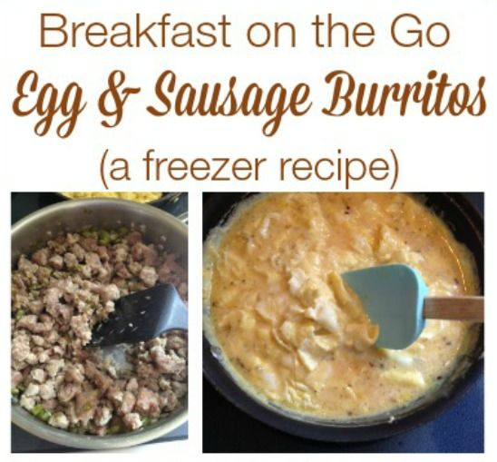 20 Make Ahead Breakfast Recipes With Eggs: Egg & Sausage Burritos {Make Ahead Freezer Recipe