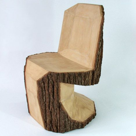 Slovakian designer Peter Jakubik has carved the rough shape of an iconic Panton Chair into a tree trunk with a chain saw.