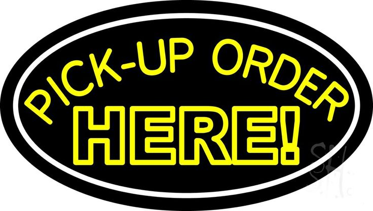 Pick Up Order Here Neon Sign 17 Tall x 30 Wide x 3 Deep, is 100% Handcrafted with Real Glass Tube Neon Sign. !!! Made in USA !!!  Colors on the sign are White and Yellow. Pick Up Order Here Neon Sign is high impact, eye catching, real glass tube neon sign. This characteristic glow can attract customers like nothing else, virtually burning your identity into the minds of potential and future customers.