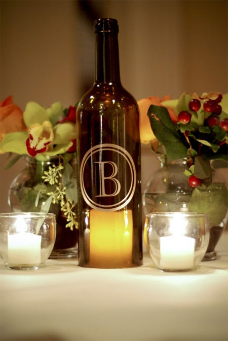 "This is our ""classic""!  It's just stunning as part of a centerpiece or as a gift for someone special.  This bottle is our standard size 750ml bottle.  Shown here is the antique green bordeaux shaped bottle in Castellar font with a circle border."