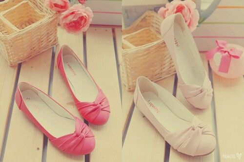 Flat shoes korean fashion   red and pastel