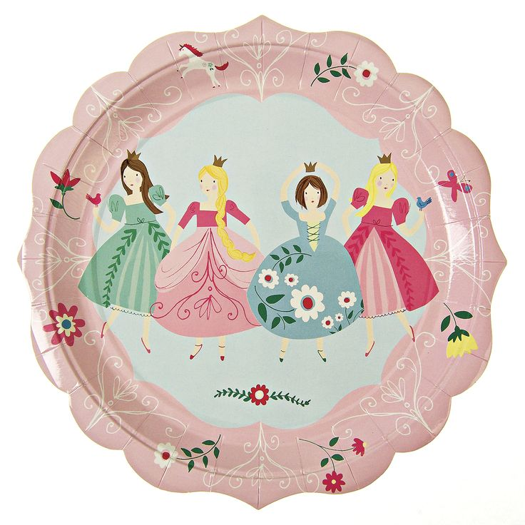 I'm a Princess Party Plates ~  Four pretty princesses adorn this party plate all wearing their best ball gowns.  The plate is also decorated with floral patterns and has a scallop-style edge.  Pack contains 12 plates £4.50