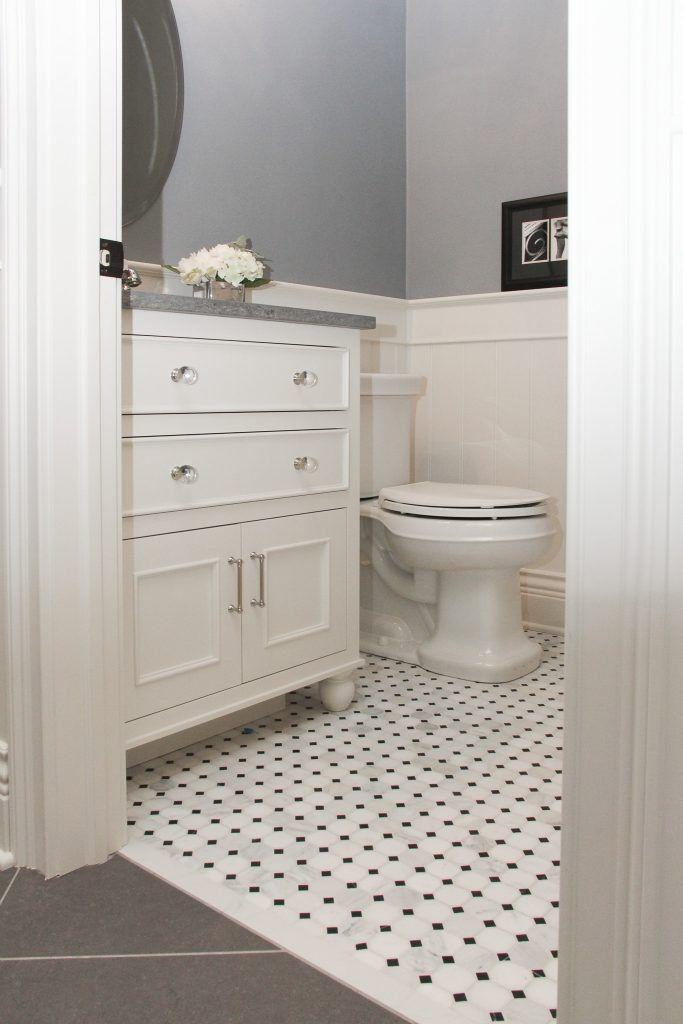 White Octagon With Black Dot Tile Bathroom Floor 1000 In 2020 White Mosaic Bathroom Stone Tile Bathroom Black Bathroom
