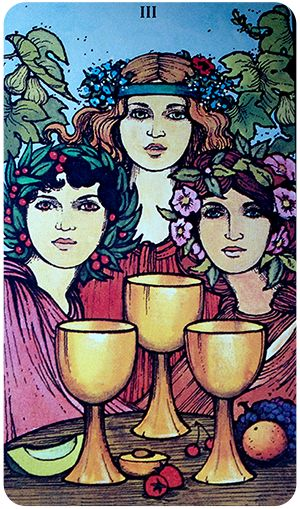Free Daily Tarotscope -- Dec 23, 2015 -- Three of Cups -- Today is a good day to connect (or reconnect) with loved ones and focus on putting your differences aside. (more)...