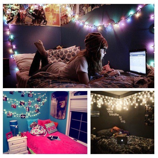 Las 25 mejores ideas sobre luces de navidad de dormitorio - Habitaciones con luces ...