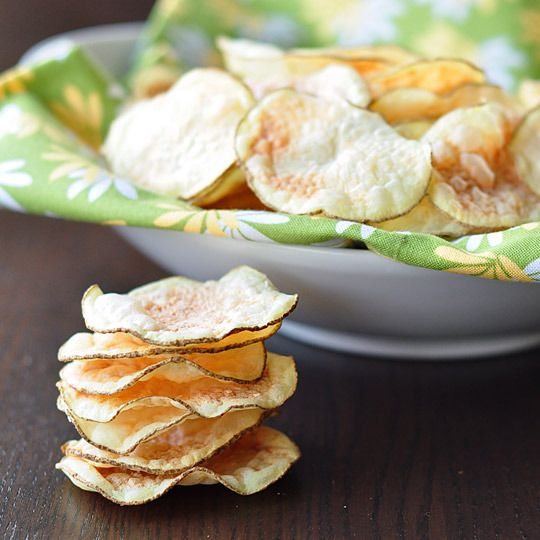 Low-fat potato chips in the microwave. I tried it with sweet potatoes. Awesome!
