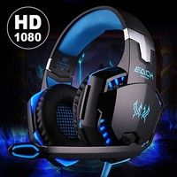 Geek | Latest Version Noise Cancelling Gaming Headset / Over Ear Game Gaming Headphone Headset Earphone Headband with Mic Stereo Bass LED Light for PC Computer Laptop Mobile Phones ( Included Y splitter cable for Notebook computers and PS4 )