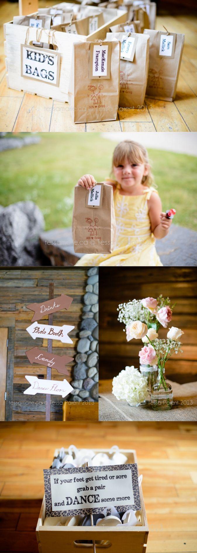 Kids wedding treat bags, Canmore AB wedding, Calgary wedding photographer www.tessamarie.ca