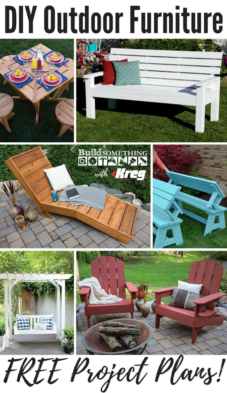 Build the outdoor space you've been dreaming about! These DIY furniture pieces not only look great, but will last for years to come. Whether it's an outdoor chaise lounge, farmhouse style bench, or set of Adirondack chairs, these easy-to-build essentials will help you create an outdoor oasis to look forward to coming home to each day. And best of all, you can say you built it yourself! Free printable project plans on buildsomething.com! #woodworkingbench