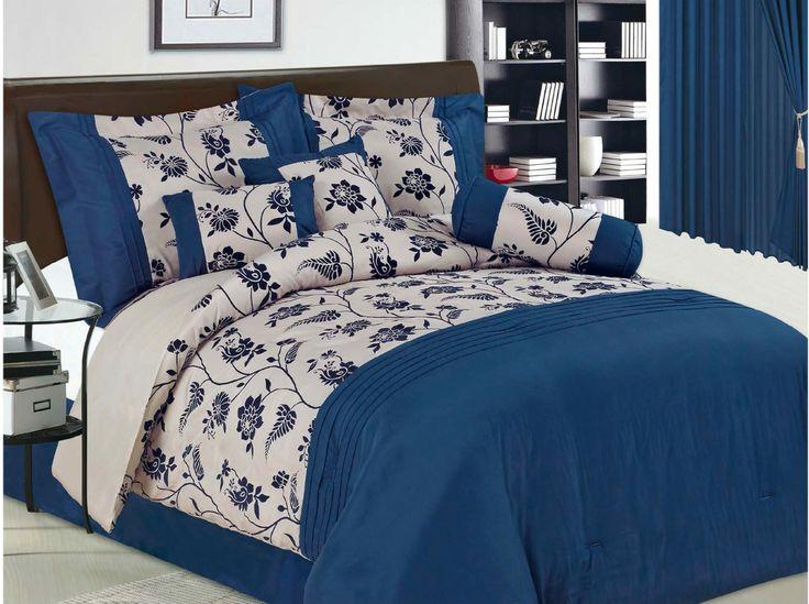 7pc ocean blue flocking comforter set queen size - Queen Bed Comforter Sets