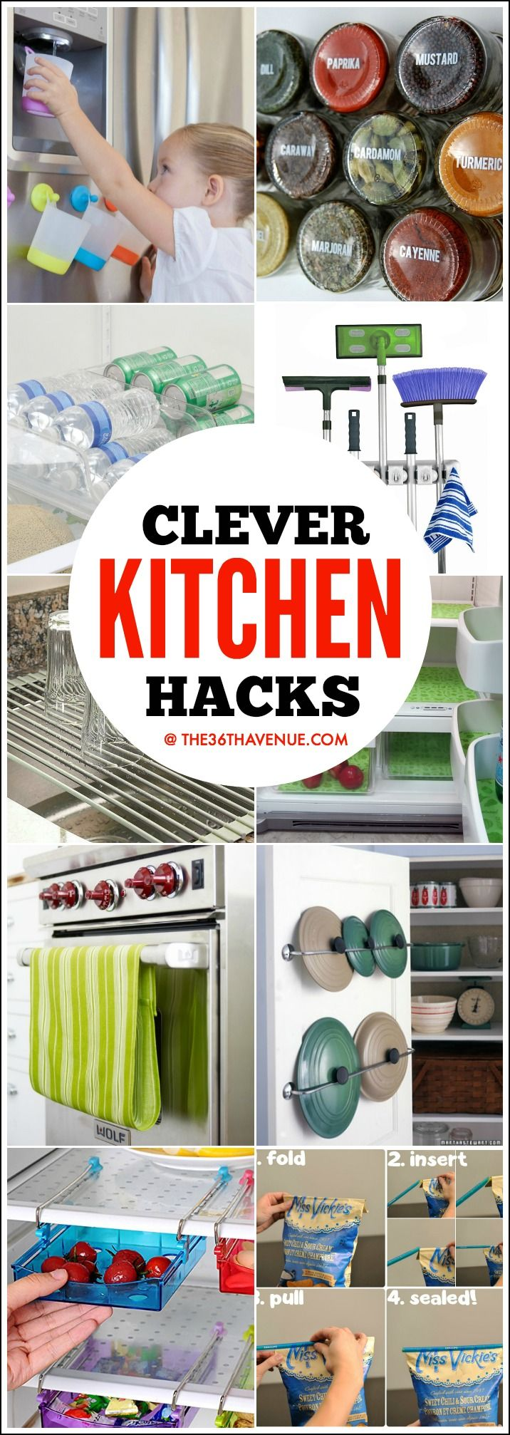 Clever Kitchen Hacks and Gadgets that will change your life! - These 45 Kitchen Organization Ideas are AMAZING! Must see them all. PIN IT NOW and use them later!: