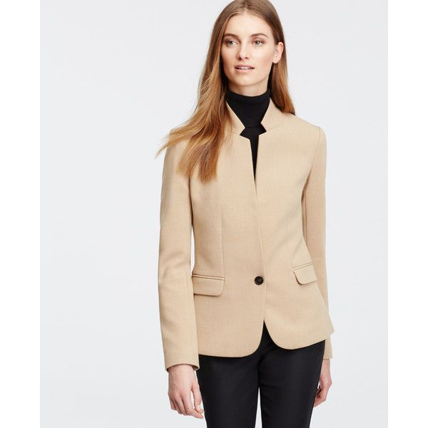 Ann Taylor Brushed Camel Blazer ($170) ❤ liked on Polyvore featuring outerwear, jackets, blazers, cashew crunch, long blazer jacket, button jacket, stand collar jacket, petite jackets and long sleeve jacket