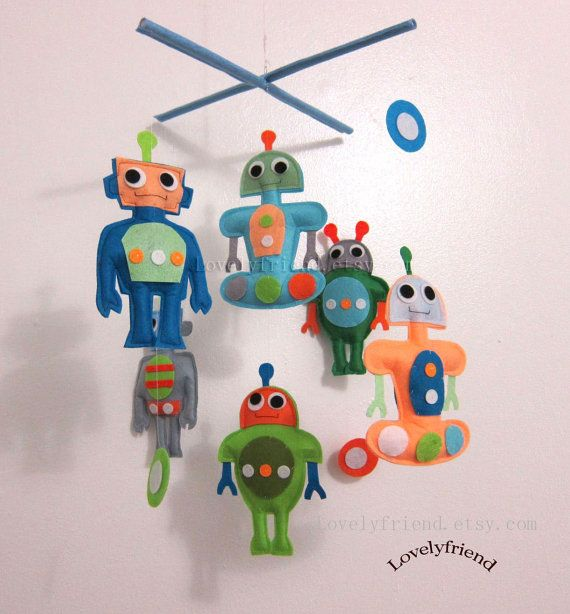 Baby Mobile - Baby Crib Mobile - robots theme mobile - rocket and robot nursery mobile - pick your colors on Etsy, $78.00