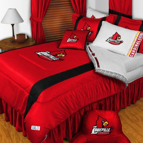 NCAA Louisville Cardinals King Comforter Pillowcases Set College Football Team Logo Bed * ON SALE Check it Out