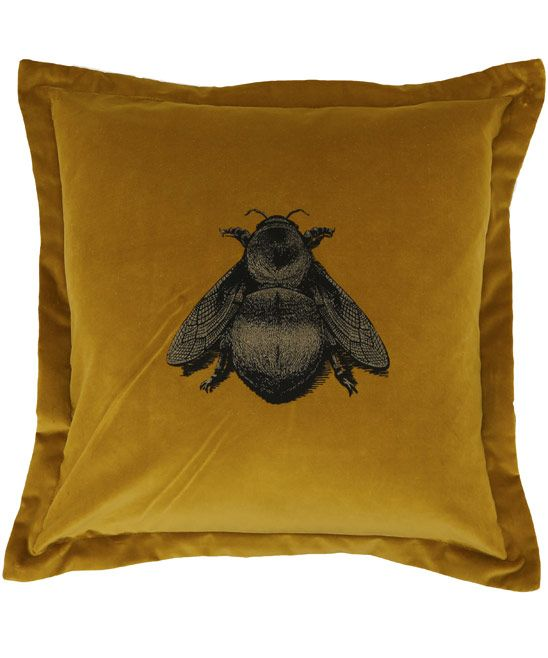 Timorous Beasties Gold Napoleon Bee Velvet Cushion