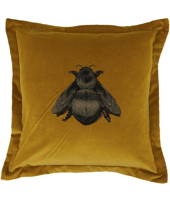 Liberty - Timorous beasties gold Napoleon bee velvet cushion