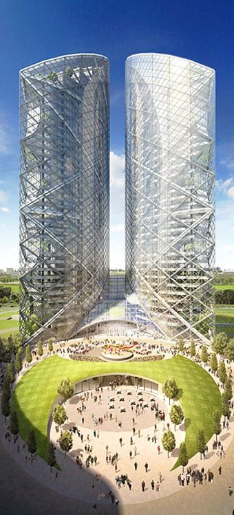 Almaty Twin Towers, Almaty, Kazakhstan by Norman Foster Architects :: 48 floors