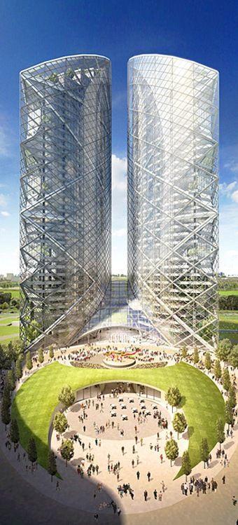 Almaty Twin Towers, Almaty, Kazakhstan by Norman Foster Architects :: 48 floors. Más sobre ciudades sostenibles en www.solerplanet.com